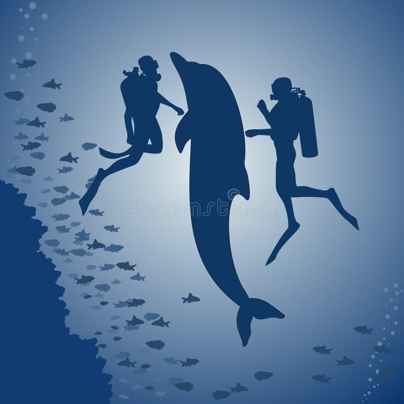 Duikers en een dolfijn royalty-vrije illustratie