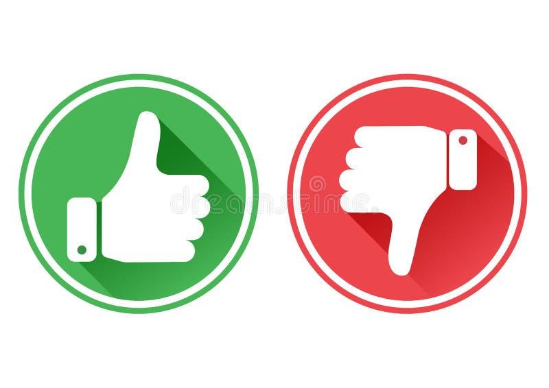 Duim boven en beneden rode en groene pictogrammen Ik houd van en houd van niet Vector royalty-vrije illustratie
