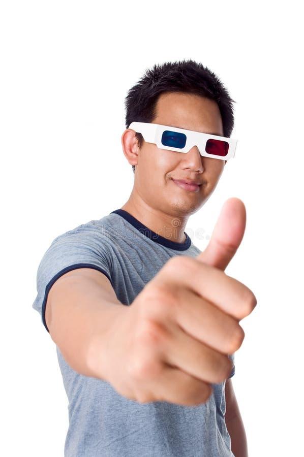Duim omhoog voor 3D films stock afbeelding