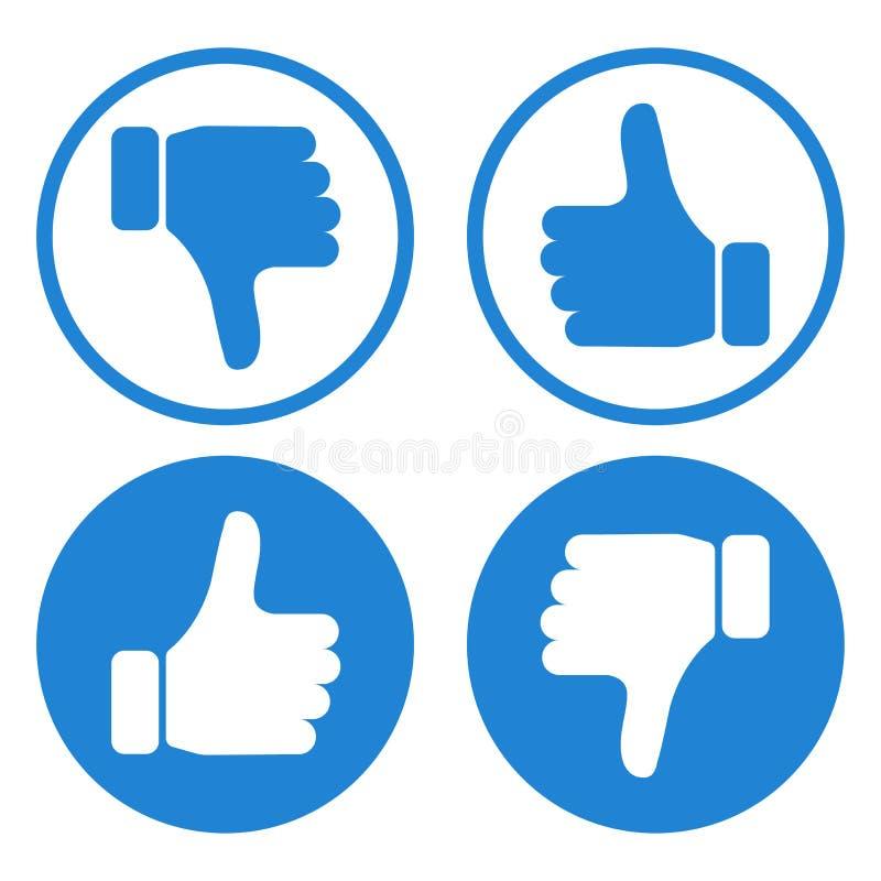 Duim op en neer Als en afkeer Reeks blauwe en witte knopen met handen Vector vector illustratie