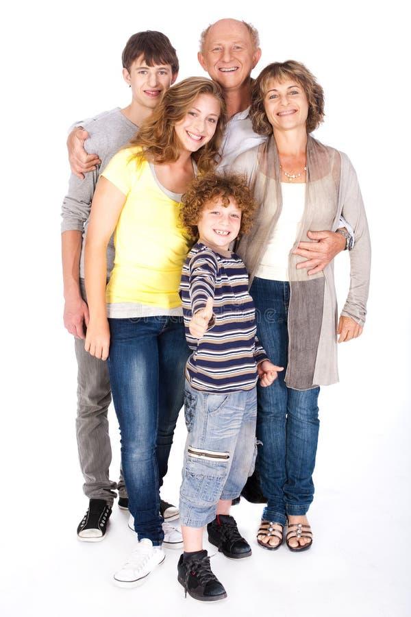 Duim-op familie het stellen in stijl stock fotografie