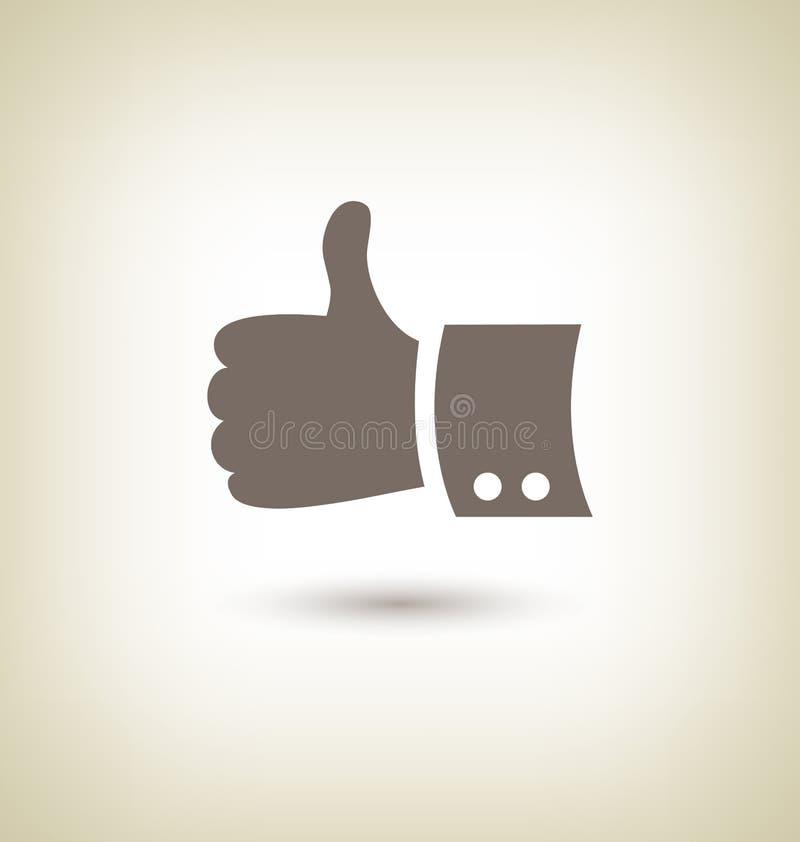 Duim op Gebaar Goede pictogramhand op beige vector illustratie