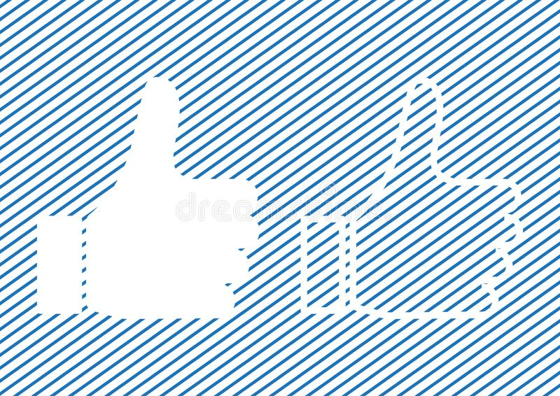 Duim op pictogram, zoals pictogram op blauwe gestreepte achtergrond Vector illustratie royalty-vrije illustratie