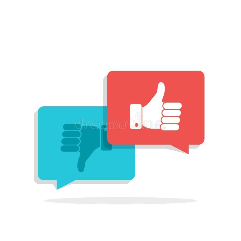 Duimen omhoog en Duimen onderaan symbool in toespraakbellen Sociaal netwerk, sociaal media concept voor websites, Webbanner lang vector illustratie