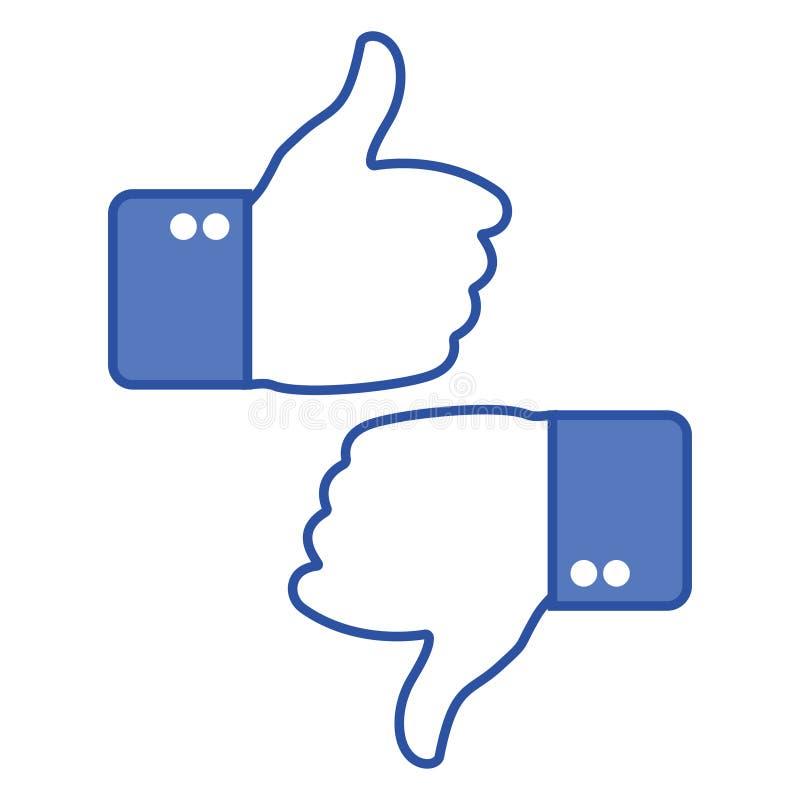 Duimen omhoog en duimen neer Als en afkeerpictogrammen voor sociaal netwerk Het gebaar van de hand Vector illustratie stock illustratie