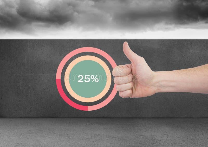 Duimen omhoog met kleurrijke grafiekstatistieken bij 25 percenten stock foto