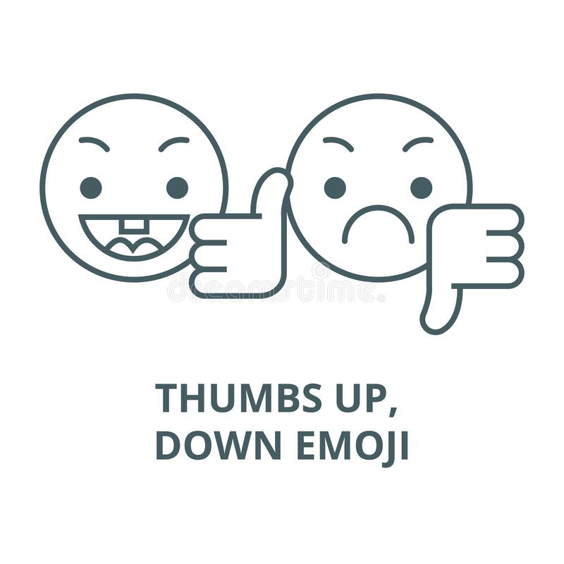 Duimen omhoog, onderaan pictogram van de emoji het vectorlijn, lineair concept, overzichtsteken, symbool royalty-vrije illustratie
