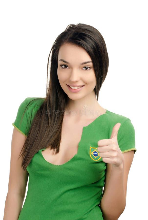 Duimen omhoog voor Brazilië. royalty-vrije stock afbeelding