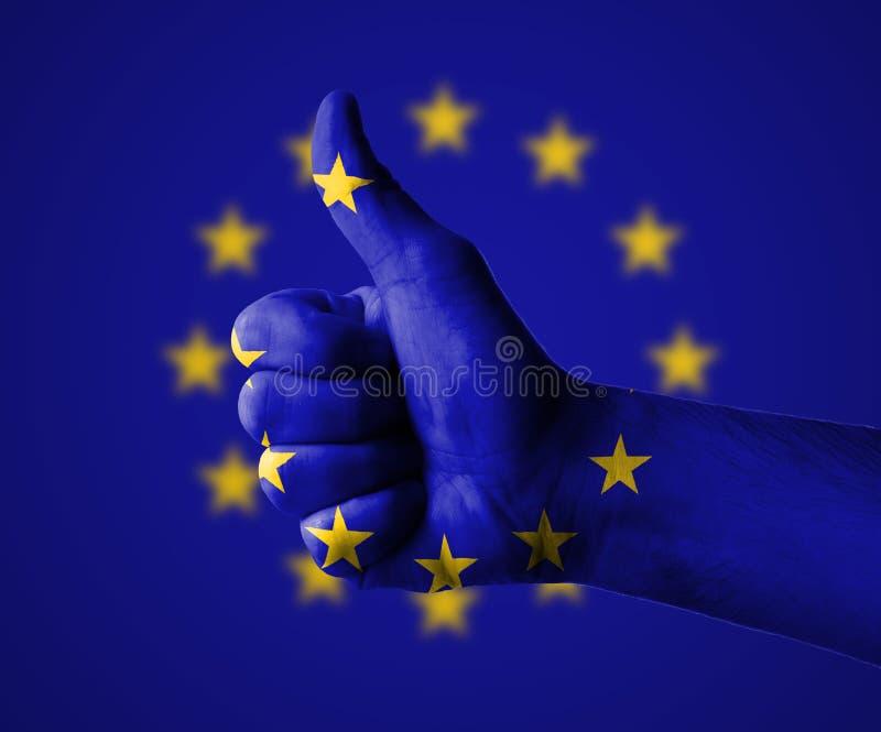 Duimen omhoog voor de Europese Unie stock foto
