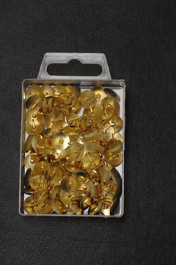 Duimkopspijkers in een container royalty-vrije stock foto's
