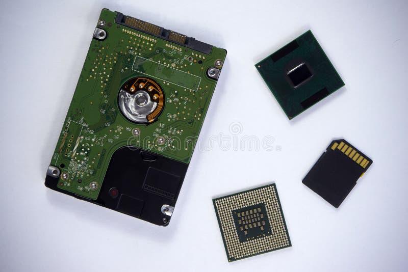 2.5 duimlaptop sata harde aandrijving met twee cpu-laptop bewerkers a royalty-vrije stock afbeeldingen