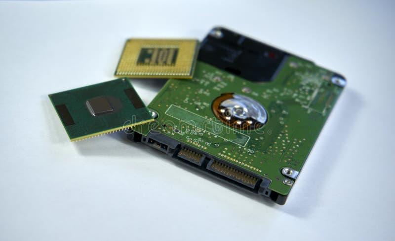 2.5 duimlaptop sata harde aandrijving met twee cpu-laptop bewerkers i royalty-vrije stock afbeeldingen