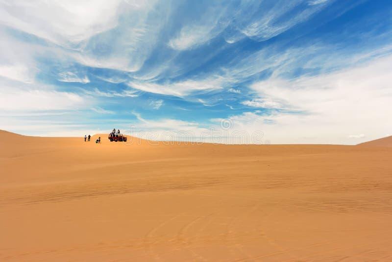 Duin met fouten kruisend de woestijn in Huacachina, Ica, Peru stock fotografie