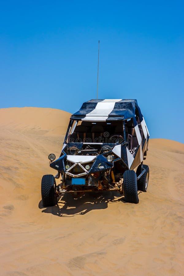 Duin met fouten over een zandduin in de woestijn, Huacachina, Ica, Peru stock fotografie