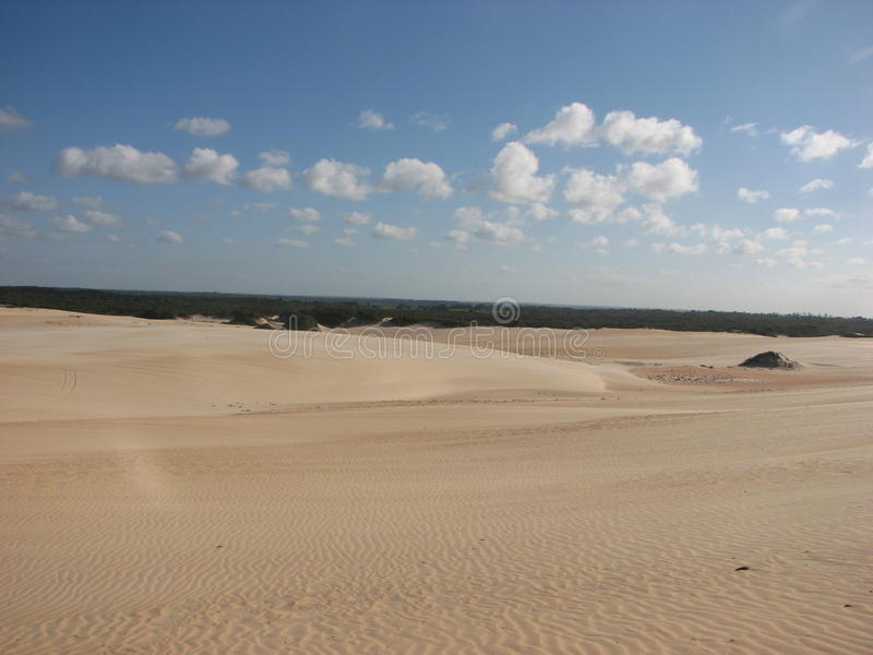 Duinen en woestijn in Geboorte, RN, Brazilië royalty-vrije stock foto