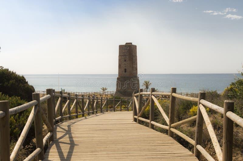 Duinen van artola natuurlijke die reserve in Cabopino Marbella Costa del Sol Malaga Spain wordt gevestigd stock afbeelding