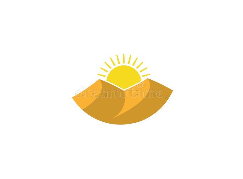 Duinen van zand en hete zon in woestijn voor embleem stock illustratie