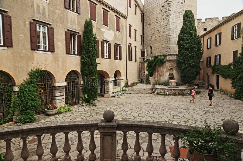 Duino castle in northern Italy. Duino Castle  is a fourteenth-century fortification located in Duino municipality of Duino-Aurisina, near Trieste, Italy, on the royalty free stock images