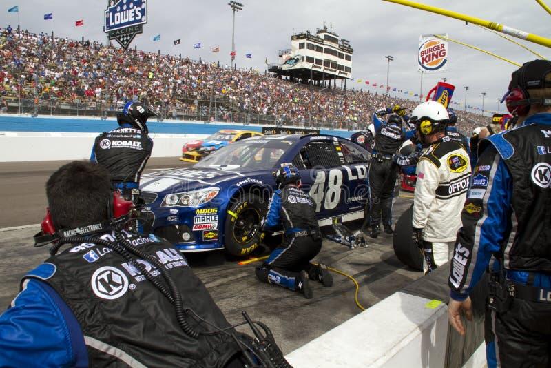 NASCAR sprintar kuper det Jimmie Johnson gropstoppet arkivbilder