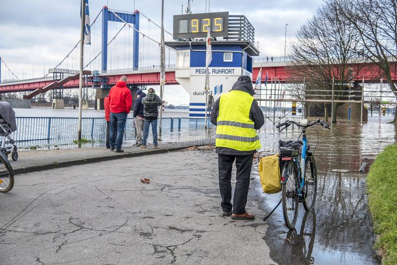 Duisburg , Germany - January 08 2017 : Bicycle driver surprised by the river Rhine flooding the promenade in Ruhrort. DUISBURG , GERMANY - JANUARY 08 2017 stock image