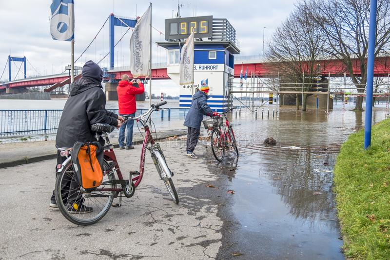 Duisburg Germany - January 08 2017 : Bike drivers surprised by the river Rhine flooding the promenade. In Ruhrort royalty free stock photography