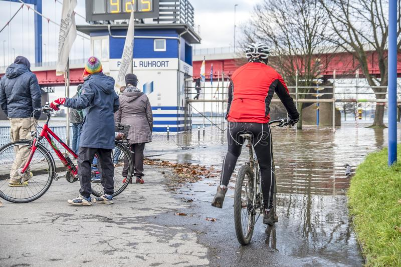 Duisburg , Germany - January 08 2017 : Bike drivers surprised by the river Rhine flooding the promenade. In Ruhrort royalty free stock photography