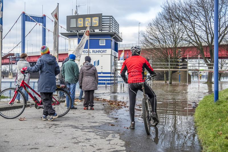 Duisburg , Germany - January 08 2017 : Bike drivers surprised by the river Rhine flooding the promenade. In Ruhrort royalty free stock photo