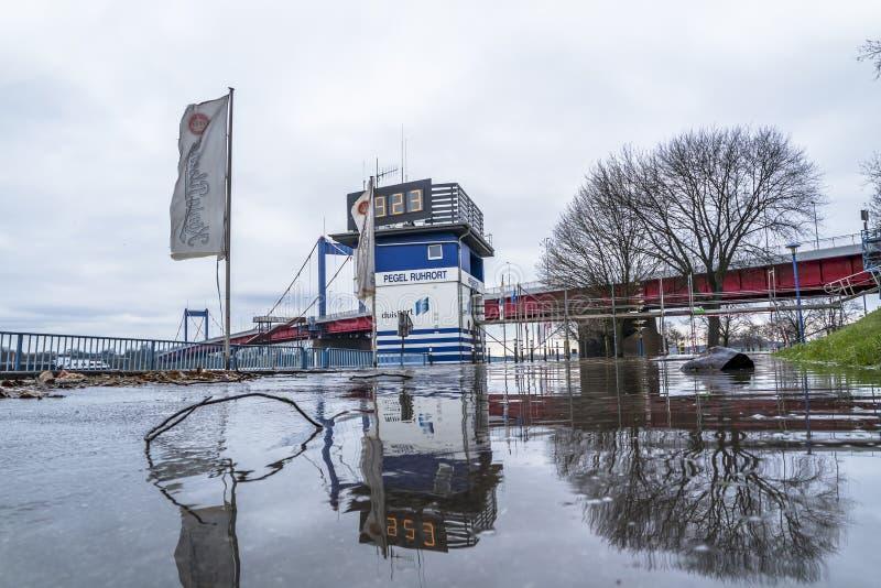 Duisburg , Germany - January 08 2017 : The flooding watermark is over 9 meters. DUISBURG , GERMANY - JANUARY 08 2017 : The flooding watermark is climbing over 9 stock image