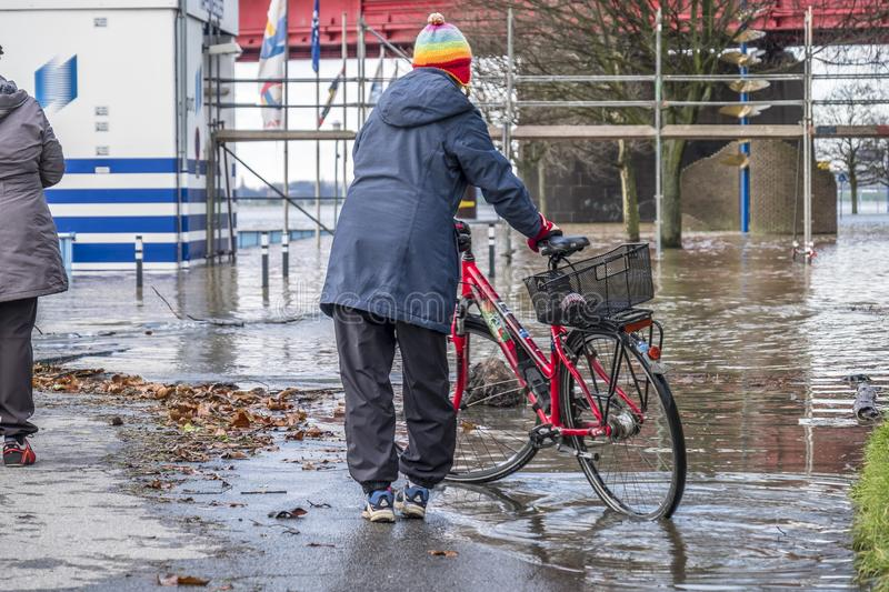 Duisburg , Germany - January 08 2017 : Lady surprised by the river Rhine flooding the promenade in Ruhrort. DUISBURG , GERMANY - JANUARY 08 2017 : Lady surprised stock photo