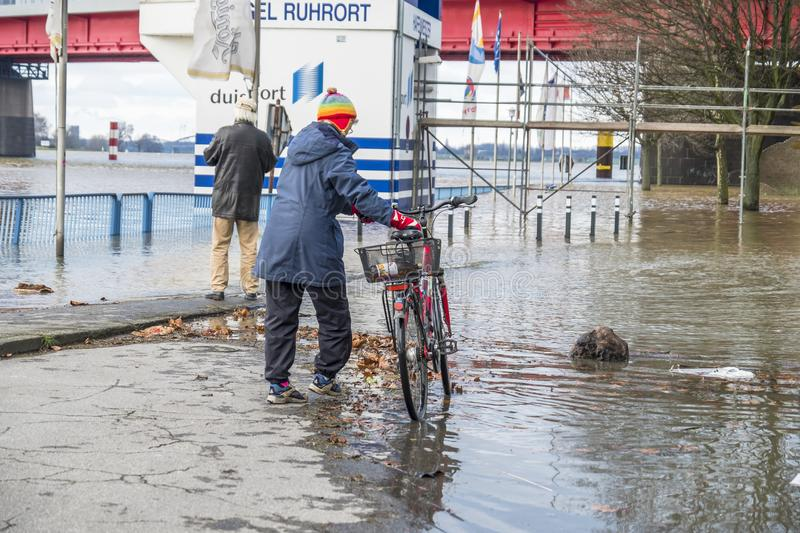 Duisburg , Germany - January 08 2017 : Lady surprised by the river Rhine flooding the promenade. In Ruhrort royalty free stock photo
