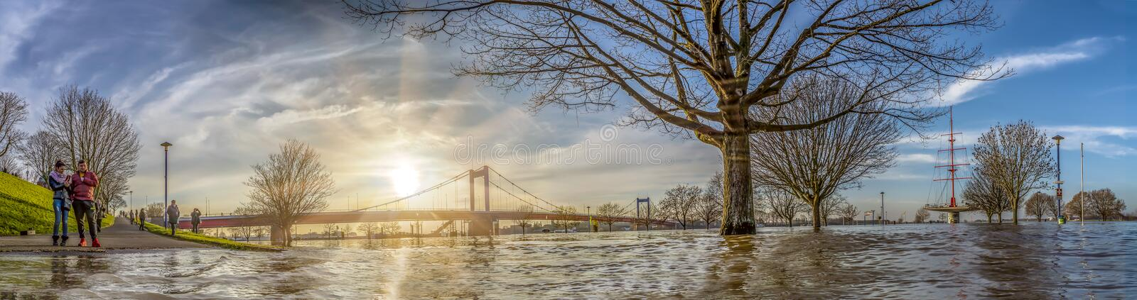 Duisburg , Germany - January 08 2017 : The river Rhine is flooding the Muehlenweide. In Ruhrort stock images