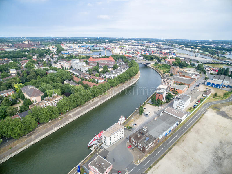 Download Duisburg Ruhrort aerial editorial stock image. Image of ship - 83702799