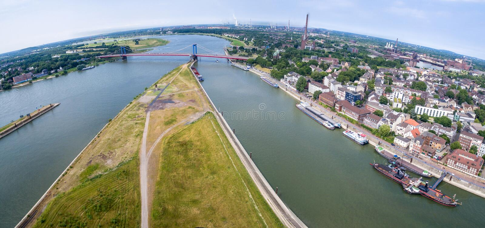 Download Duisburg Ruhrort aerial editorial stock photo. Image of city - 83702873