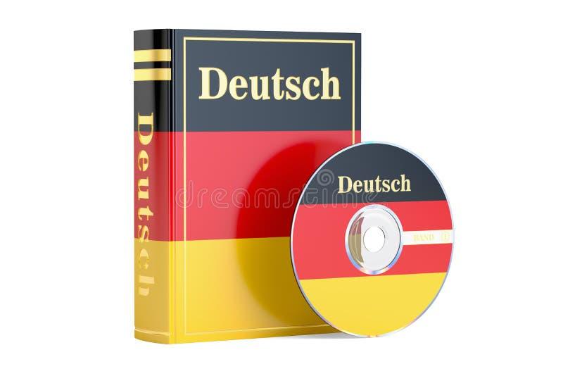 Duits boek met vlag van de schijf van Duitsland en CD, het 3D teruggeven vector illustratie
