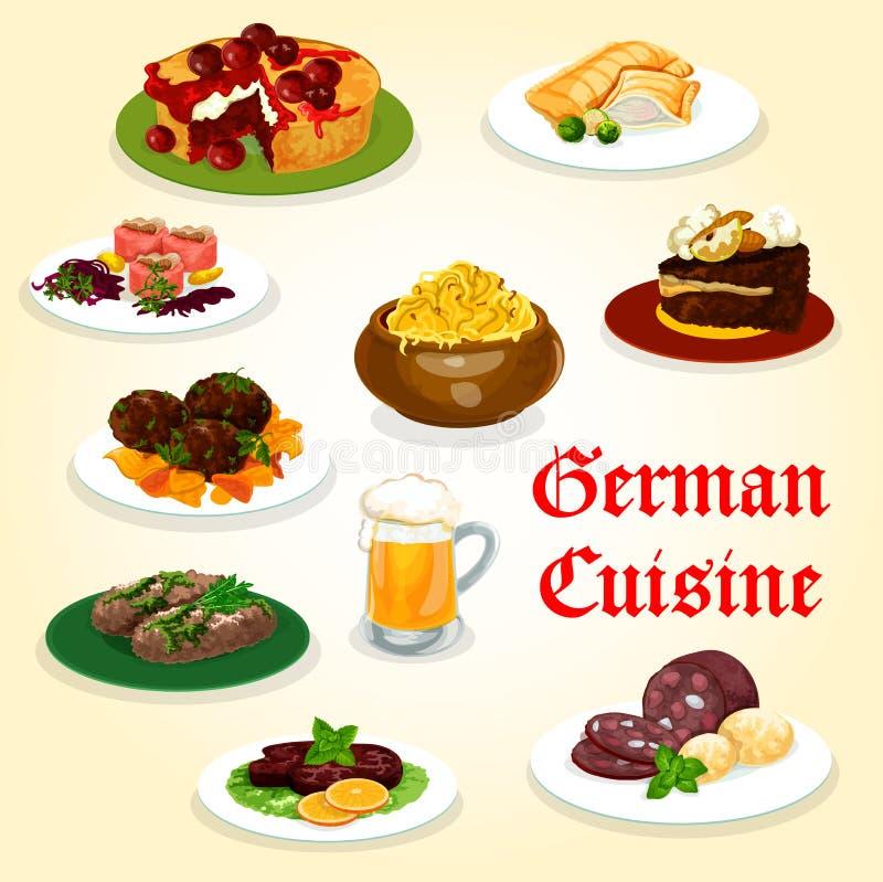 Duits keukendiner met worst en bierpictogram royalty-vrije illustratie