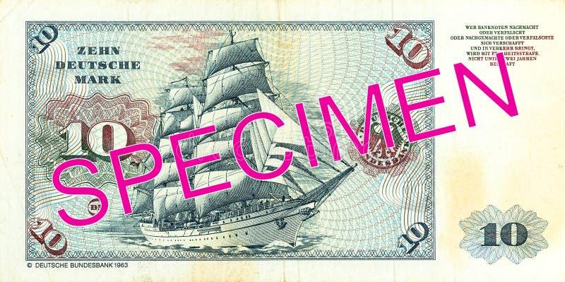 Duits Mark 10 bankbiljetomgekeerde royalty-vrije stock afbeeldingen