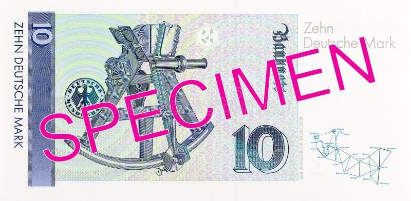Duits Mark 10 bankbiljetomgekeerde royalty-vrije stock foto