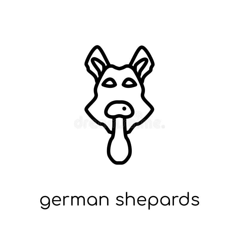 Duits Shepards-hondpictogram In moderne vlakke lineaire vectorgerma vector illustratie