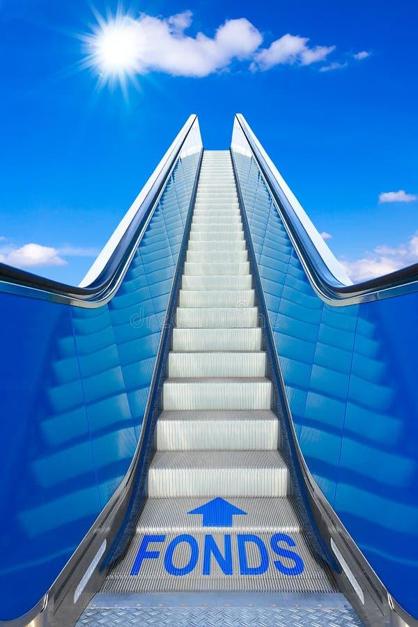 Duitse de tekstfonds fondsen van de roltrap blauwe hemel royalty-vrije stock foto's