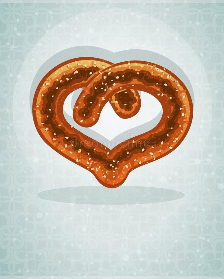 Duitse hart gevormde pretzel stock illustratie