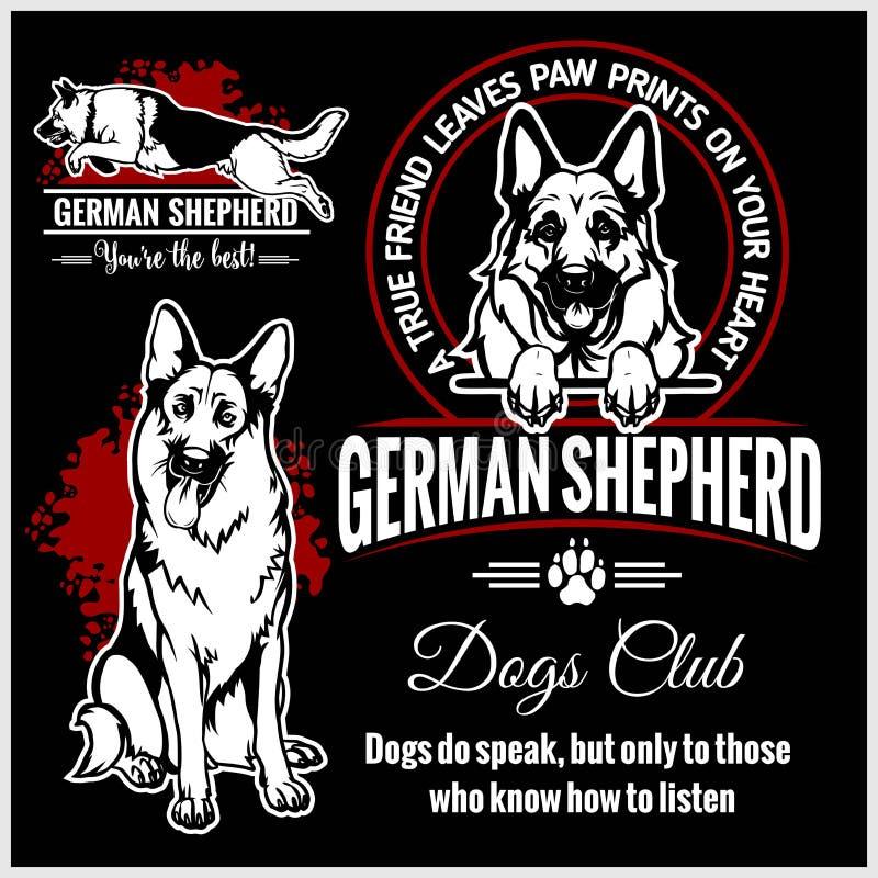 Duitse herder - vector die voor t-shirt, embleem en malplaatjekentekens wordt geplaatst vector illustratie