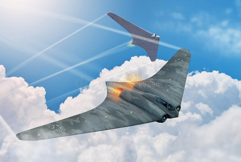 Duitse Horten-Vechtersvliegtuigen royalty-vrije illustratie