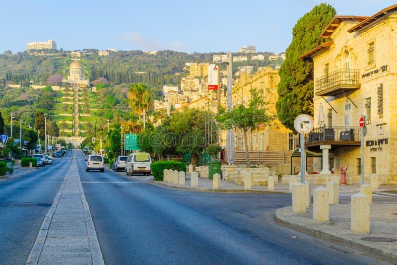 Duitse Kolonie bij zonsopgang, in Haifa royalty-vrije stock afbeeldingen
