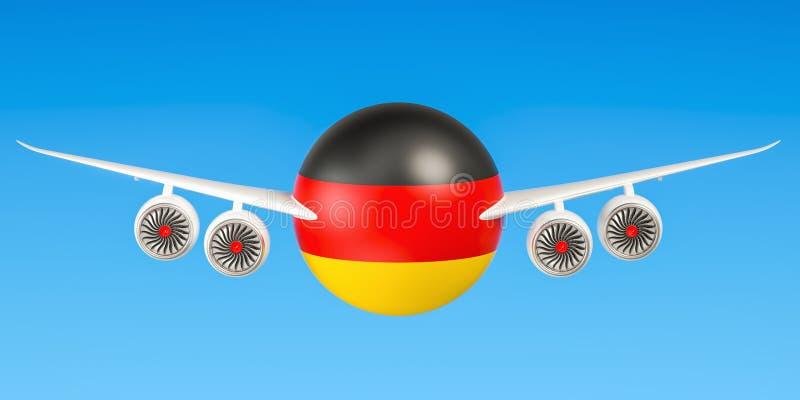 Duitse luchtvaartlijnen en flying& x27; s, vluchten aan het concept van Duitsland 3d ren vector illustratie