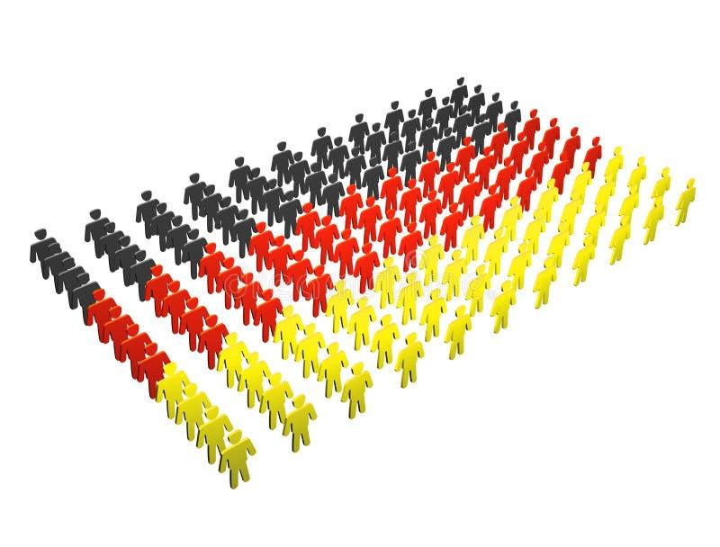 Duitse Mensen - de vlag van Duitsland stock illustratie