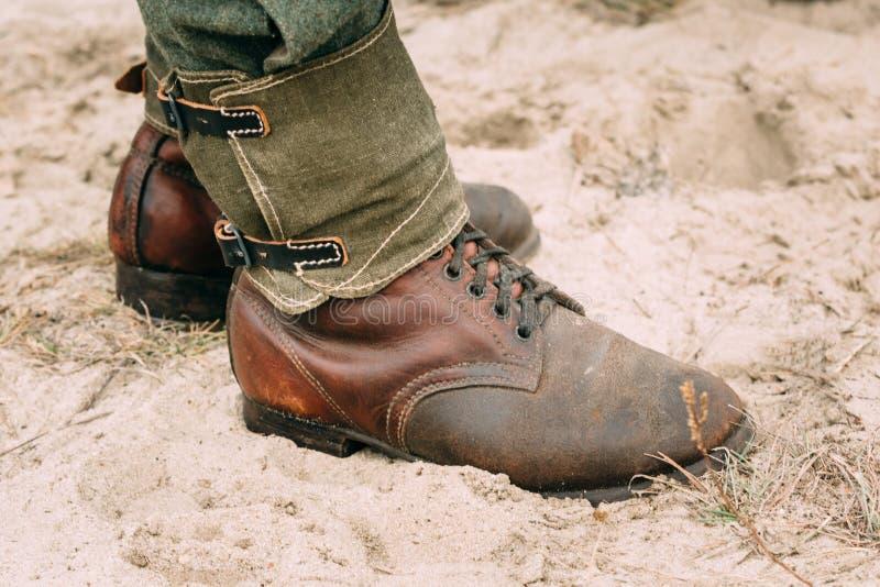 Duitse Militaire laarzen De Tweede Wereldoorlog stock fotografie