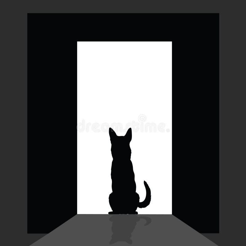 Duitse shepard bij het deursilhouet vector illustratie