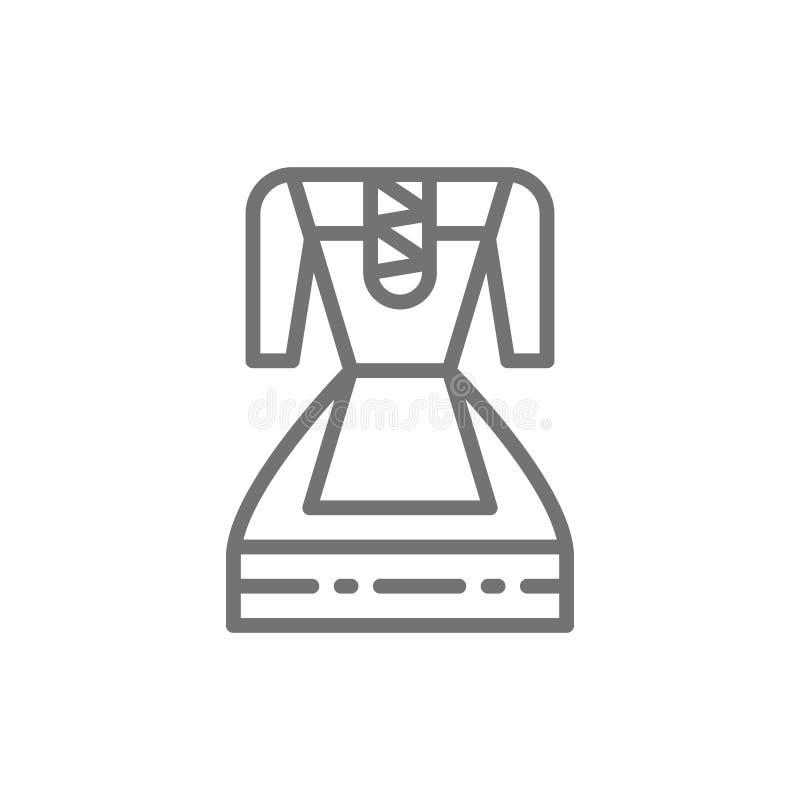 Duitse traditionele nationale kleding, de lijnpictogram van het vrouwenkostuum vector illustratie