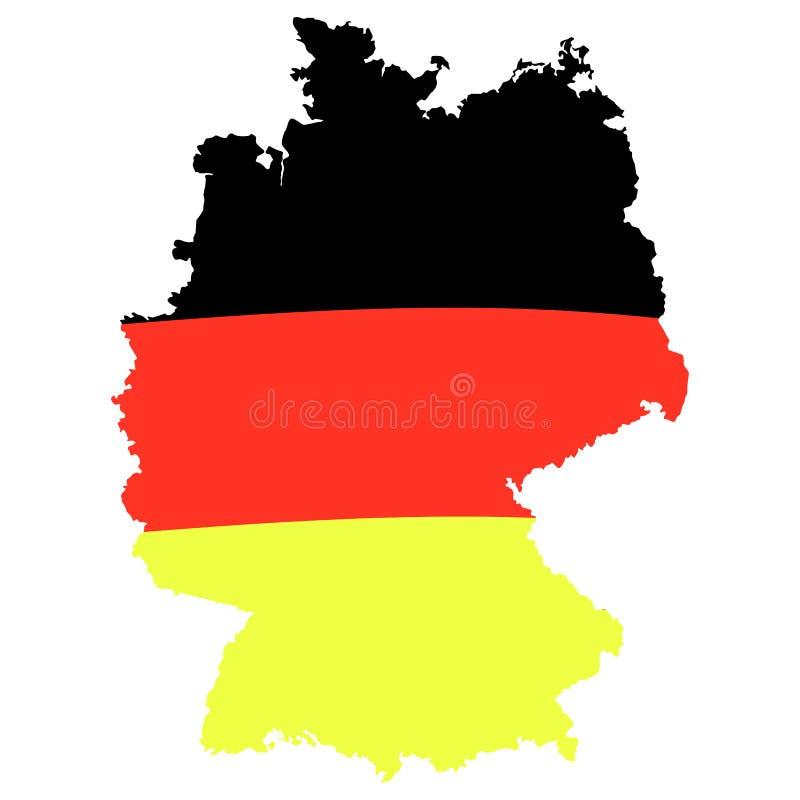 Duitse vlag op kaart Illustratie die op wit wordt geïsoleerd Malplaatje voor Traditioneel Duits bierfestival royalty-vrije illustratie