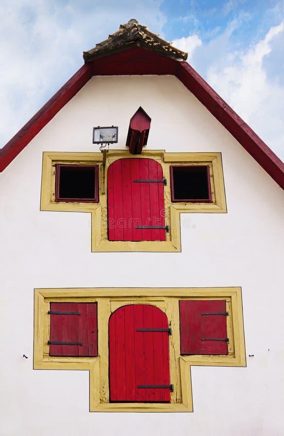 Duitse voorgevel van oud middeleeuws huis in Rothenburg ob der Tauber, royalty-vrije stock afbeelding